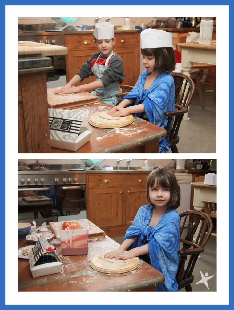 Iris and Jack making Pizzas